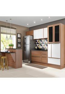 Cozinha Compacta 12 Portas 4 Gavetas 5463R Nogueira/Branco - Multimóveis