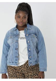b64012246c5fc ... Jaqueta Jeans Com Botões Curve   Plus Size