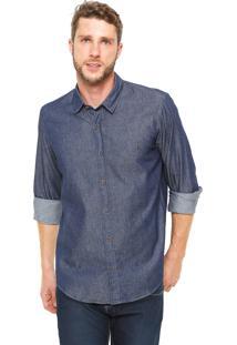 Camisa Jeans Reserva Básica Azul