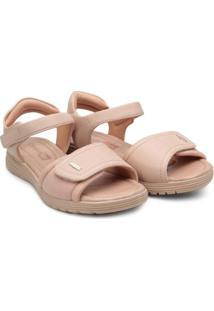 Sandália Comfortflex Papete Velcro Feminina - Feminino-Nude