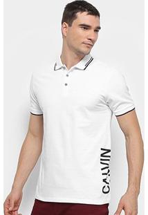 Camisa Polo Calvin Klein Mc Est Lateral Masculina - Masculino-Branco