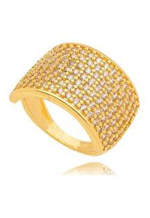 Anel Cravejado Gazin Micro Zircônia Banhado A Ouro 18K - Ouro - 18 Dourado