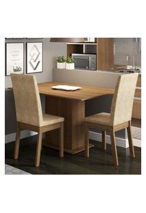 Conjunto Sala De Jantar Madesa Dai Mesa Tampo De Madeira Com 2 Cadeiras Marrom
