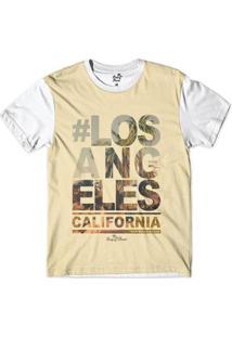 Camiseta Long Beach Coleção Praias Los Angeles California San Diego Sublimada Masculina - Masculino-Bege+Branco