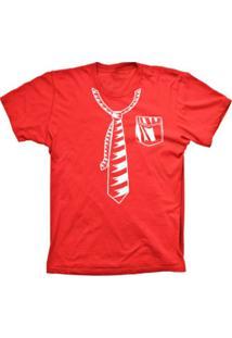 Camiseta Lu Geek Manga Curta Gravata Vermelho