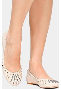 Sapatilha Couro Shoestock Tachas Feminina - Feminino-Off White