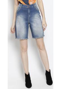 Bermuda Jeans Desfiada- Azul- Maria Valentinamaria Valentina