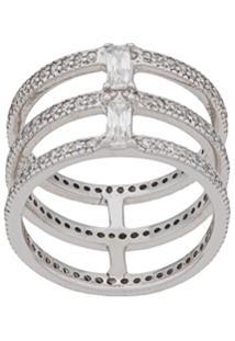 V Jewellery Triple Spine Ring - Prateado