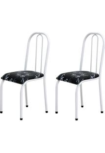 Cadeira Assento Anatomico 2 Peças 00104 Branco Preto Floral Archeli