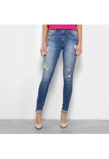 5f49af5c8 ... Calça Jeans Skinny Colcci Fátima Rasgos Pérolas Cintura Média Feminina  - Feminino-Jeans