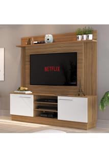 Rack Com Painel Para Tv Até 52 Polegadas 2 Portas Es240 Naturalle/Branco - Decibal Móveis