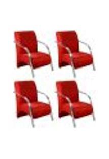 Conjunto De 4 Poltronas Sevilha Decorativa Braço Alumínio Cadeira Para Recepção, Sala Estar Tv Espera, Escritório - Suede Vermelho