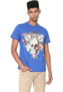 Camiseta Gangster Estampada Azul