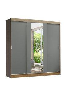Guarda-Roupa Casal Madesa Reno 3 Portas De Correr Com Espelho Rustic/Cinza Cinza