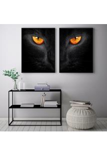 Quadro Oppen House 70X100Cm Olhos De Gato Animais Decorativo Interiores Sala De Estar Quartos Moldura Preta Com Vidro