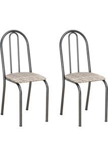 Conjunto 2 Cadeiras Éos Cromo Preto E Estampa Rattan