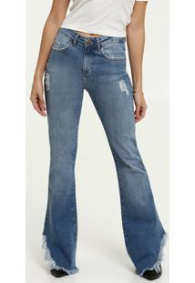 Calça Jeans Destroyed Flare Feminina Marisa