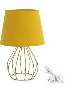 Abajur Cebola Dome Amarelo Mostarda Com Aramado Dourado
