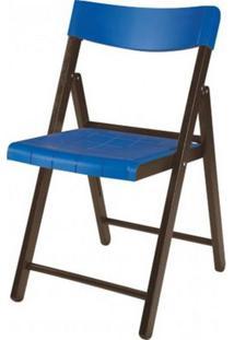 Cadeira Potenza Dobravel Tabaco Com Plastico Azul - 20648 - Sun House