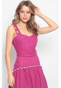 Blusa Cropped Em Linho - Pink - Chocoleitechocoleite