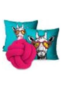 Kit Capas Para Almofadas Girafa Estilosa Com Nó Rosa Pink