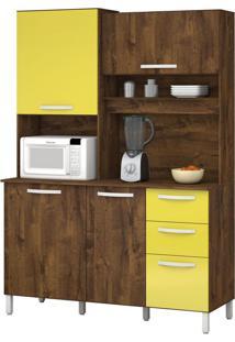 Armário De Cozinha Diamante 4 Portas Malbec Com Amarelo Vitamov