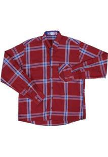 Camisa Masculina Xadrez Manga Longa Rodeo Western - Masculino-Vermelho Escuro