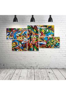 Quadro Decorativo - Crazy-Urban-Art - Composto De 5 Quadros