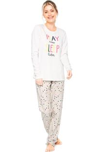 Pijama Cor Com Amor Now Sleep Off-White/Cinza