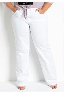 Calça Pantalona Branca Com Bolsos Plus Size