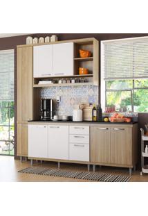 Cozinha Completa Com Balcão Com Tampo 5 Peças 8 Portas Sicília Multimóveis Argila/Branco