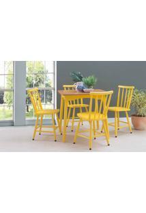Conjunto De Mesa De Jantar Com 4 Cadeiras Mimo 80Cm Verniz Jatobá E Laca Amarelo
