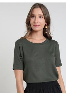 Blusa Feminina Básica Canelada Manga Curta Decote Redondo Verde Militar