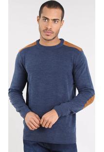 Suéter Masculino Em Tricô Com Suede Azul Marinho