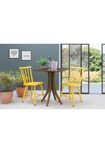 Mesa Bistrô Quadrada Com 2 Cadeiras Juliette - Nogueira E Amarelo