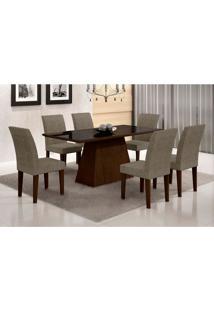 Conjunto De Mesa De Jantar Luna Com Vidro E 6 Cadeiras Grécia Castor Preto Com Suede Am. Chocolate