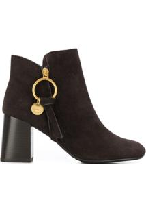 See By Chloé Ankle Boot Com Salto Alto - Marrom