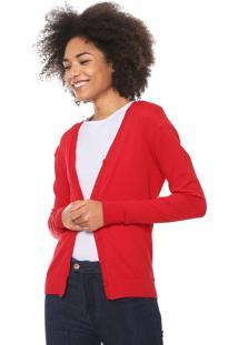 Cardigan Malwee Tricot Básico Vermelho