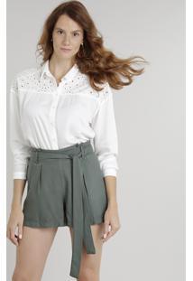 50e442eae9218 Camisa Feminina Com Recorte Em Laise Manga Longa Off White