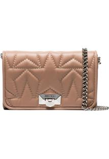 Jimmy Choo Ballet Pink Helia Star Embroidered Leather Clutch - Rosa