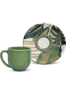 Conjunto 12Pçs Xícaras De Café Porto Brasil Coup Foliage Branco/Verde