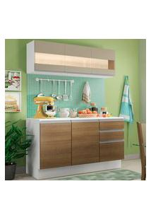 Cozinha Compacta 100% Mdf Madesa Smart 120 Cm Modulada Com Balcáo E Tampo Branco