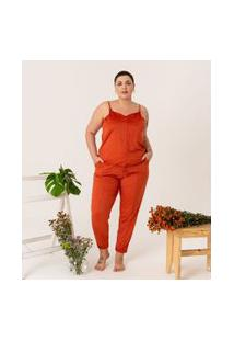Calça Jogger Lisa Em Suede Curve & Plus Size | Ashua Curve E Plus Size | Laranja | Eg