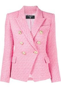 Balmain Blazer Com Abotoamento Duplo De Tweed - Rosa