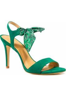 Sandália Zariff Shoes Salto Nobuck Lenço - Feminino-Verde