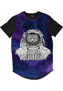 Camiseta Longline Insane 10 Animal Astronauta Urso No Espaço Sublimada Cinza