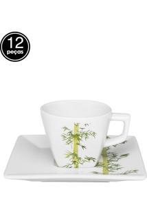 Conjunto Xícaras Chá Oxford 12Pçs 200Ml Bamboo Branco