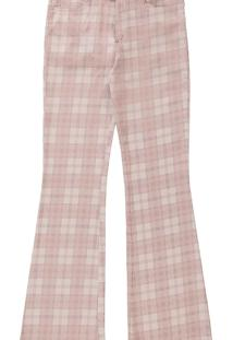 Calça Malibu Flare Xadrez Cinto Rosa Beleza - Lez A Lez
