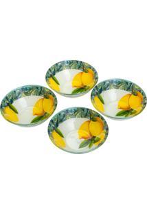 Conjunto 4 Bowls De Vidro P/Sobremesa 15Cm E 380Ml – Linha Lemons Amarelo