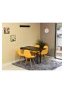 Conjunto De Mesa Dobrável Retrátil 120 X 75 Preta + 4 Cadeiras Botonê - Amarela